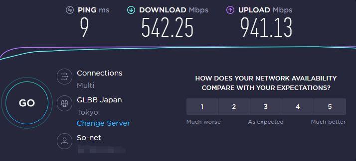 NURO光_有線LAN通信速度